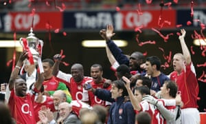 Patrick Vieira lifts FA Cup trophy for Arsenal in 2005.