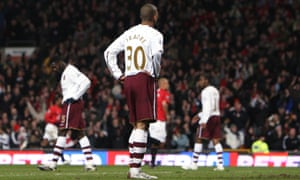 Arsenal's Armand Traoré looks on dejectedly after Manchester United score in the 4-0 win at Old Trafford in 2008.