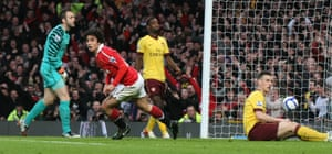 Fabio Da Silva celebrates scoring Manchester United's opening goal in the 2-0 quarter-final victory.
