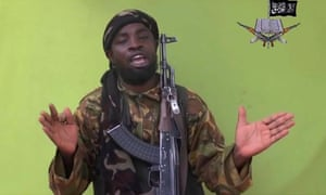 Boko Haram leader Abubakar Shekau speaking to the camera in one of the group's videos, apparently making a formal allegiance to Isis.