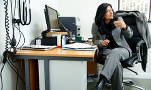 Veena Jha in her consulting room at Manor House GP surgery in Glossop.