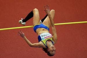 Sofie Skoog of Sweden competes in the Women's High Jump qualification.
