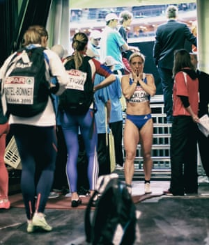 Yeory a Kokloni of Greece looks on after being disqualified in the women's 60m heats.