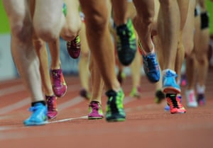 Athletes compete during the women's 3000m.