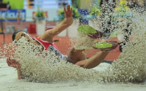 Ivana Spanovic of Serbia competes in the women's long jump.