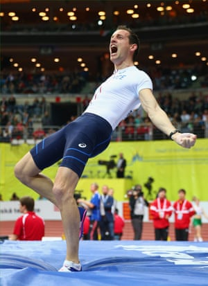 Renaud Lavillenie of France celebrates breaking the championship record in the Men's Pole Vault Final.