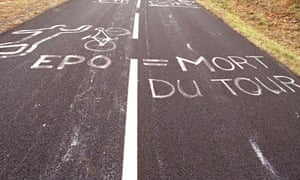 A message written by Tour de France spectators against doping scandals which rocked the tour in 1998