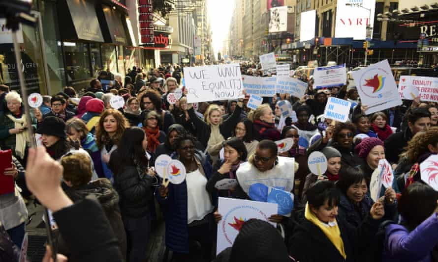 The International Women's Day march in New York.