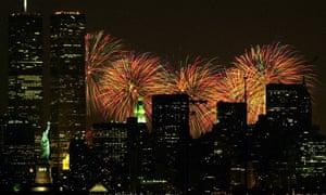 Fireworks in Lower Manhattan on July 4, 2000. (AP Photo/Ron Frehm)