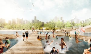 The harbour bath, part of the proposed New York Dryline flood defences.