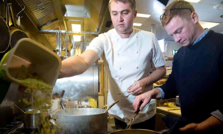 Chefs Lee Bennett (left) and Chrisopher King cook with seafood caught in Arctic Norwegian waters.