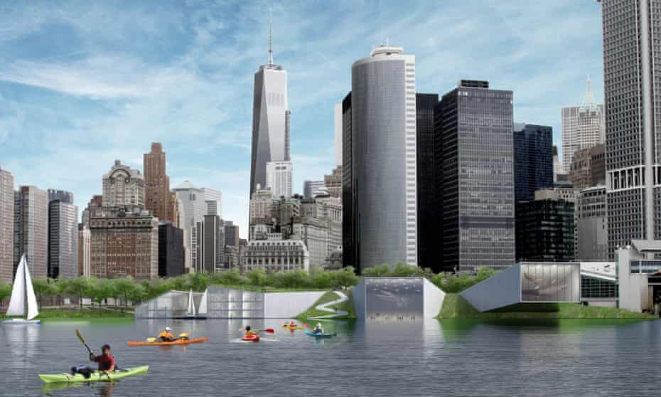 A section of the New York Dryline at Battery park, featuring a school and 'reverse aquarium'.