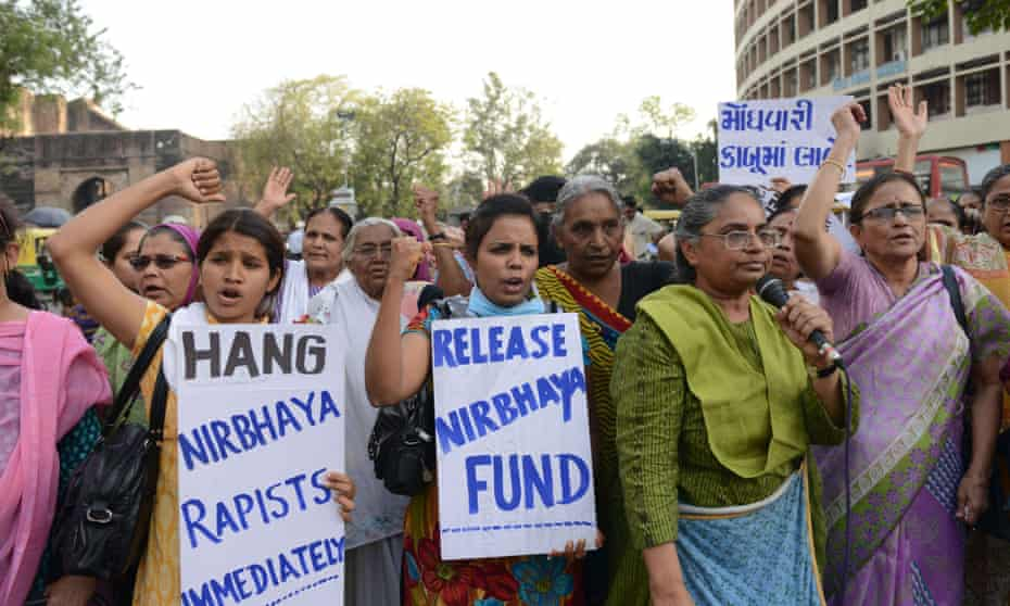 Indian women demonstrate for women's safety and equality, and call for severe punishment of men convicted of rape, on 7 March in Ahmedabad, the eve of International Women's Day.