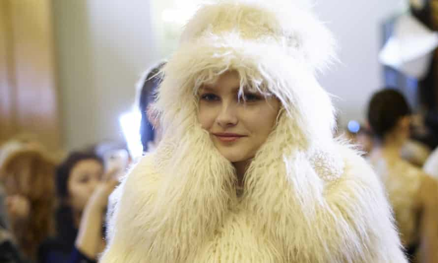 A model poses in one of Stella McCartney's 'fur-free fur' creations prior to the catwalk show.