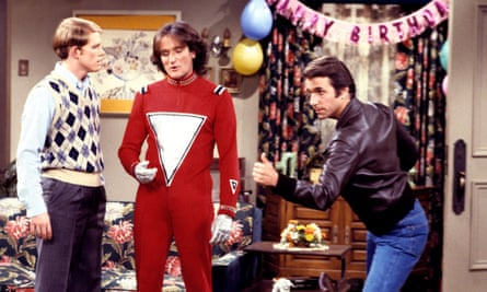 Ron Howard, Robin Williams and Henry Winkler in Happy Days, 1979
