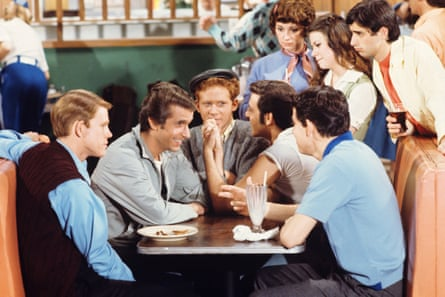Happy Days with (seated, from left) Ron Howard, Henry Winkler, Donny Most