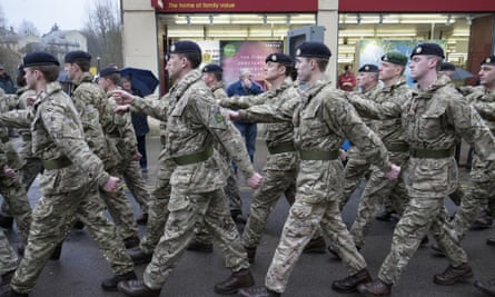 The 9 Theatre Logistic Regiment of the Royal Logistic Corps, one of the most culturally diverse regiments in the British Army march through Chippenham to mark Commonwealth Day, 9 March 2015.