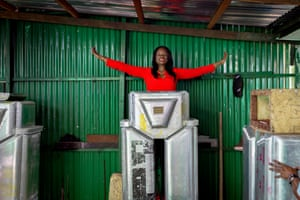 Therese Izay, president of Women's Tech who design and manufacture the robots. Izay hopes that authorities will pay for the robots to be installed in other African cities and beyong