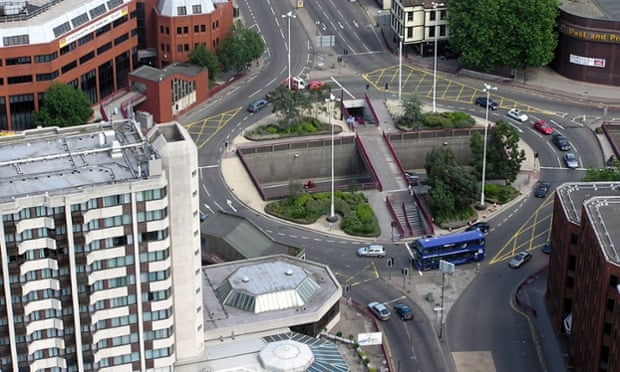 Made for cars: the Old Market Roundabout in Bristol, England. Photograph: Alamy