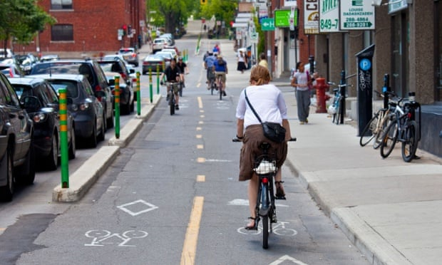 Bicycle path in Montreal, Canada. Photograph: Alamy