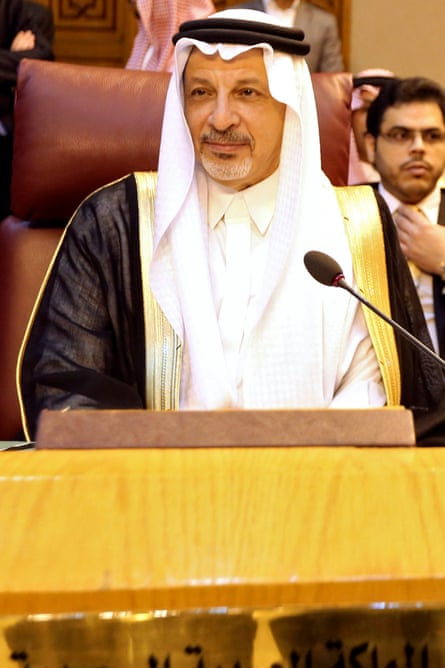 Saudi Arabia's ambassador to Egypt, Ahmed Kattan, at the Arab League meeting.