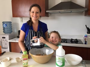Charlotte Dauman and daughter Chloe make a palm oil free carrot cake for the bake sale at Canggu Community School, Bali.