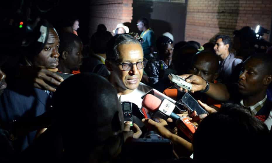 Mauritanian director Abderrahmane Sissako speaks to the press before the screening of Timbuktu
