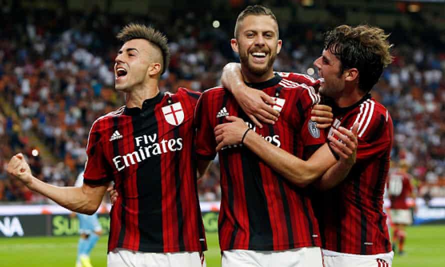 AC Milan's Jeremy Menez celebrates with Stephan El Shaarawy