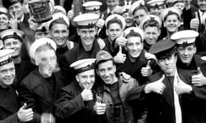 A group of happy sailors in Portsmouth during the second world war.