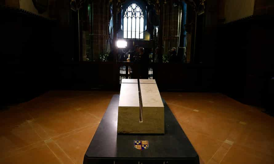 The tomb of Richard III in Leicester cathedral, 27 March 2015.