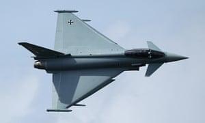 A Eurofighter Typhoon fighter jet.