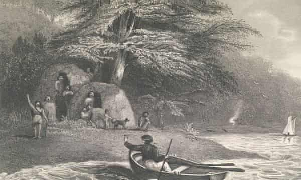 Fuegian tribespeople encounter members of Darwin's expedition in a 1839 illustration by members of the crew.