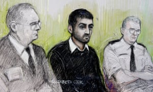 Court artist's sketch of Erol Incedal (centre), who was cleared of plotting a terror attack