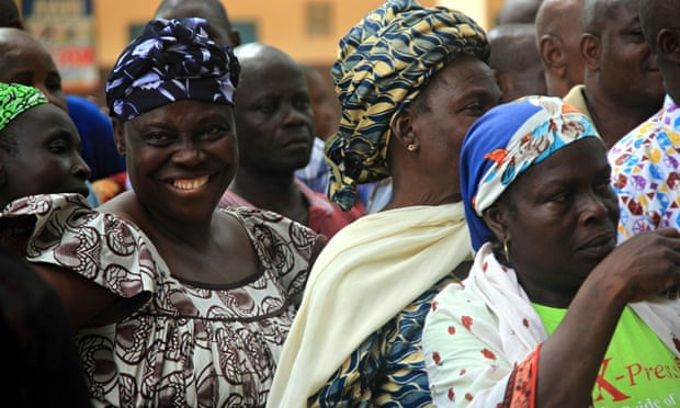 Voters queue at a polling booth in Lagos, Nigeria.