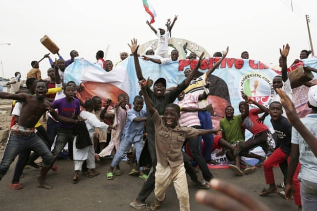 Supporters of presidential candidate Muhammadu Buhari celebrate his victory in Kaduna.