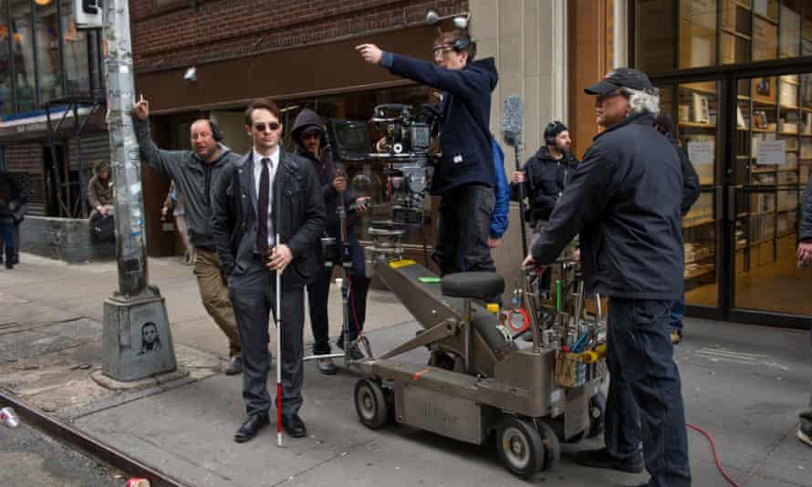Drag me to Hell's Kitchen: Charlie Cox on set in New York.