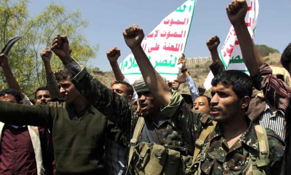 Yemeni supporters of the Huthi militia in Taiz protest against Operation Decisive Storm on Wednesday.