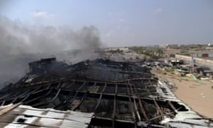A milk factory hit by an air strike in Houdieda on Wednesday.