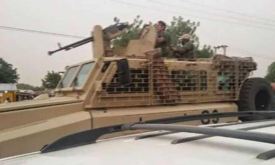 Alleged South African contractors in armoured vehicles in Nigeria.