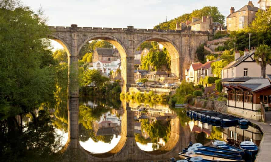 Railway viaduct over the river Nidd in Knaresborough, North Yorkshire.