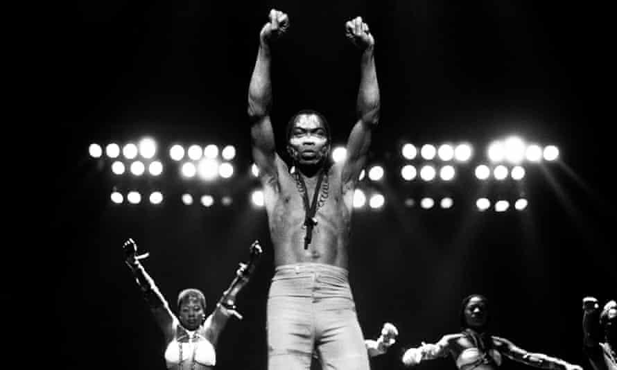 Fela Kuti, onstage in Detroit, 1986.