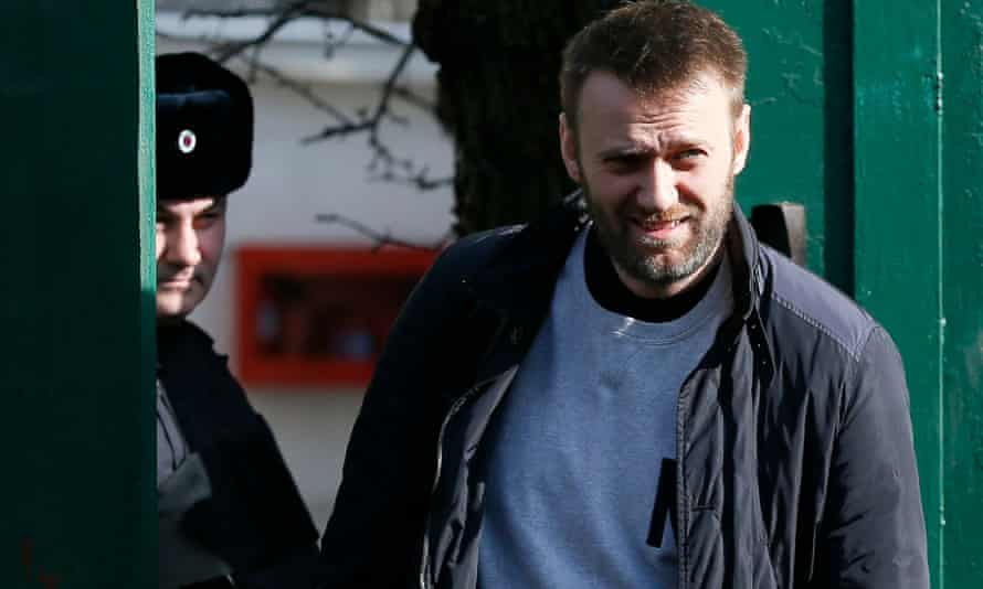 Alexei Navalny, Russian opposition leader, leaves a detention centre in Moscow.