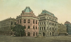 A lithograph illustration of the Writers' Building, Kolkata.