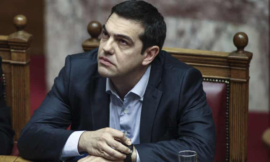 The Greek prime minister, Alexis Tsipras, in a special session of parliament.