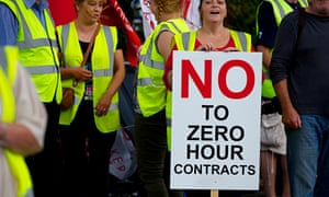 Protesters against zero hours contracts