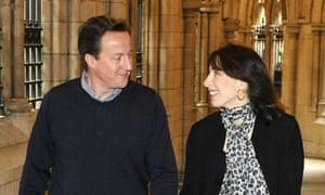 David and Samantha Cameron at a church in Kensington, London, in 2010.