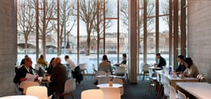 The cafe area in the Pigott atrium, where the old NT bookshop used to be.