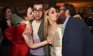 Fun, fun, fun (left to right): Lena Dunham,Jack Antonoff, Jemima Kirke and Mike Mosberg