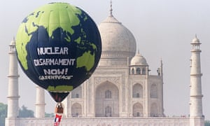 Greenpeace float a balloon over the Taj Mahal  demanding global nuclear disarmament. The protest group has had its bank accounts frozen by the Indian government who accuses it of being anti-development.