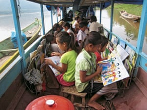 Lao children on the Mekong